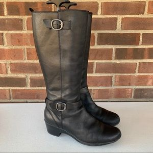 Clarks black leather chunky heel knee high boots